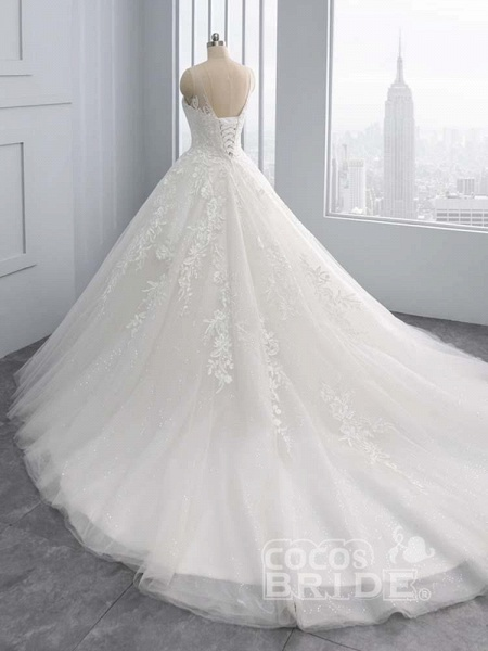Gorgeous Lace-Up Sweep Train Ball Gown Wedding Dresses_4