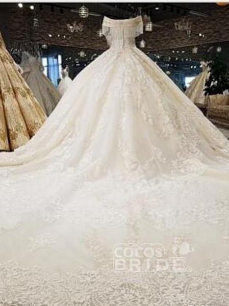 V-Neck Off-the-Shoulder Ball Gown Wedding Dresses Beaded Appliques_4
