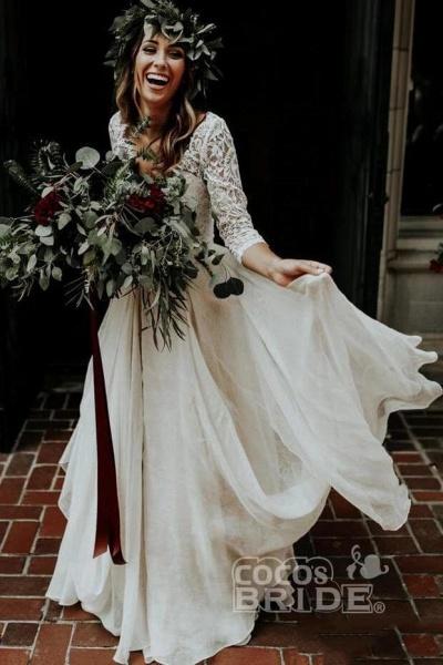 Ivory Chiffon Rustic Cheap 3/4 Sleeves Two Piece Wedding Dress_5