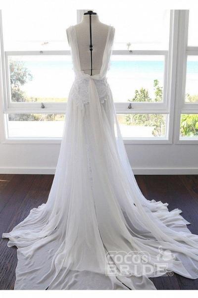 Bohemian Cheap Spaghetti Straps Long Beach Wedding Dress_2