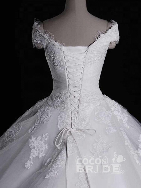 Gorgeous V-Neck Lace Tulle Ball Gown Ruffles Wedding Dresses_4