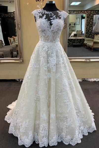 Ivory Lace Round Neck Cap Sleeve Sweep Train Wedding Dress_1