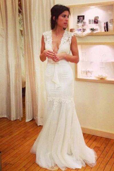 Chic Applique Tulle V-neck Sleeveless Mermaid Wedding Dress_1