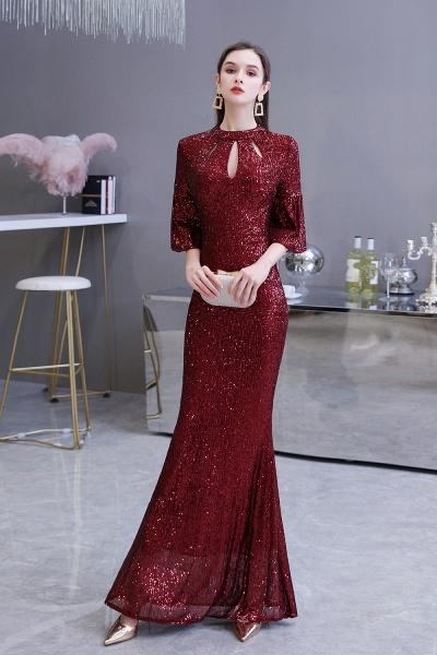 Burgundy Short Sleeve Sequins Long Prom Dress_5
