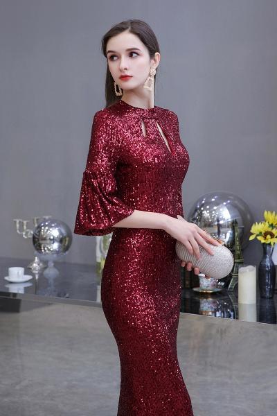 Burgundy Short Sleeve Sequins Long Prom Dress_3