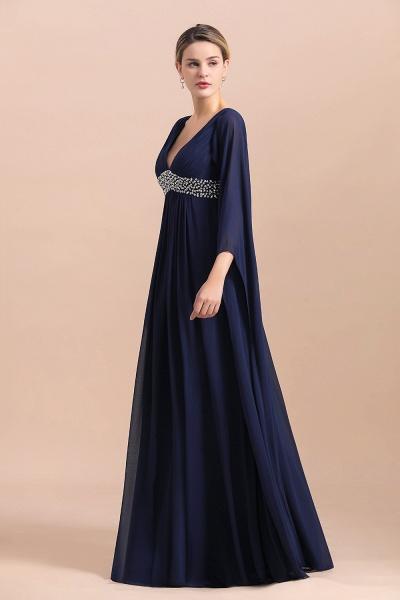 Long Sleeve Ruffles Beads Pearls Chiffon Mother Of the Bride Dress_4