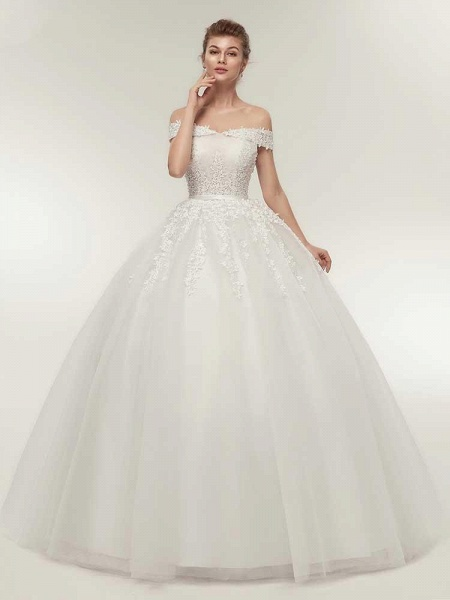Off-the-Shoulder Lace-Up Ball Gown Wedding Dresses_1