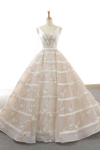 V Neck Long A-Line Ball Gown Wedding Dress_1
