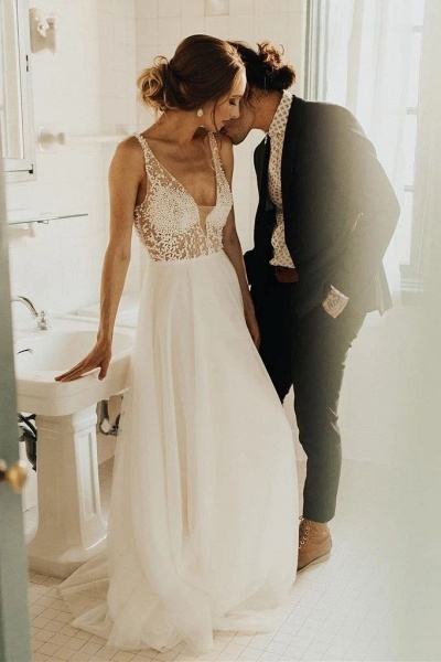 Simple Beading Long Tulle Beach A Line Deep V Neck Wedding Dress_1