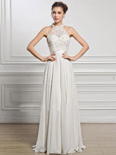 Halter Sleeveless Open Back A-Line Wedding Dresses_1