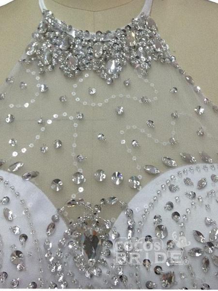 Elegant Halter Lace Sashes Ball Gown Wedding Dresses_4