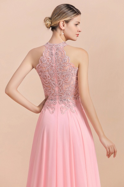 Pears Crystal A Line Halter Wedding Dresses Lace Wedding Gowns_8