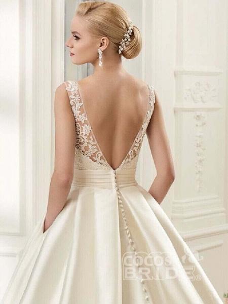 Glamorous Backless Ruffles Wedding Dresses_4