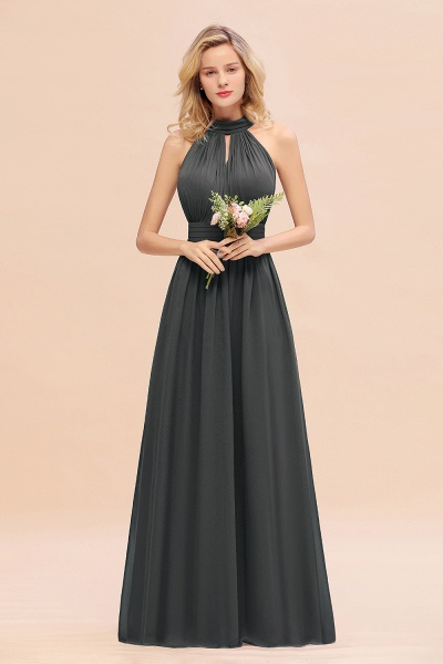 BM0758 Glamorous High-Neck Halter Bridesmaid Affordable Dresses with Ruffle_46