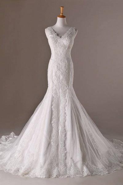 White Lace Tulle V-Neck Mermaid Train Long Wedding Dresses_1