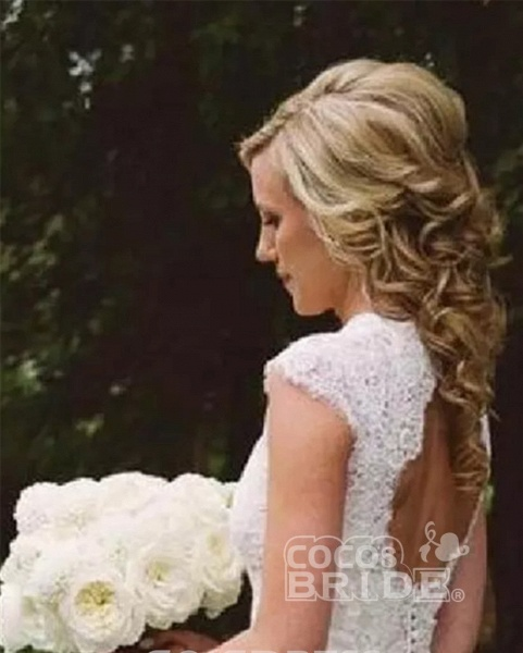 A-line V-neck Cap Sleeves Open Back Lace Beach Wedding Dress_2