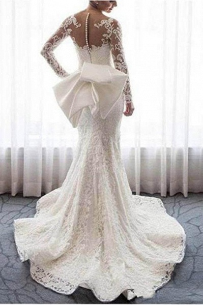 Gorgeous Lace with Long Sleeves Bowknot Mermaid Wedding Dress_1