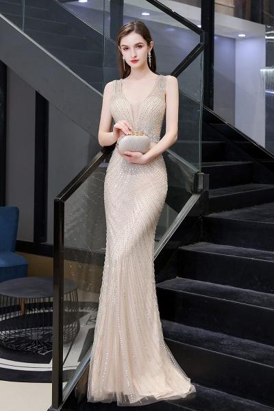 Sexy Mermaid V-neck Silver Long Prom Dress_18