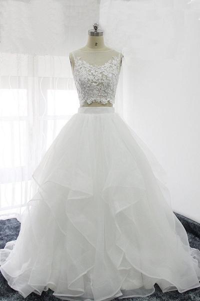 Elegant White Tulle Handmade Two Pieces Long Wedding Dress_1