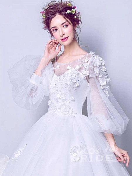 Luxury Long Sleeves Flowers Ball Gown Tulle Wedding Dresses_3