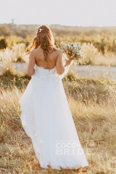 Sexy Sweetheart White Tulle Backless Beach with Lace Long Wedding Dress_3