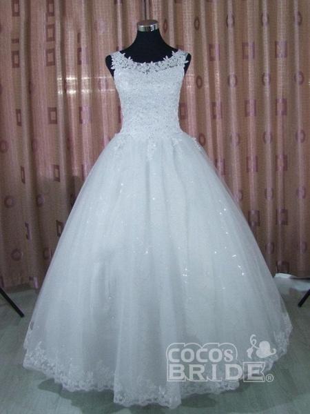 Elegant Sleeveless Lace Ball Gown Wedding Dresses_4