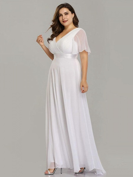 Empire Waist V-neck Half-Sleeves Ruffles Wedding Dresses_1