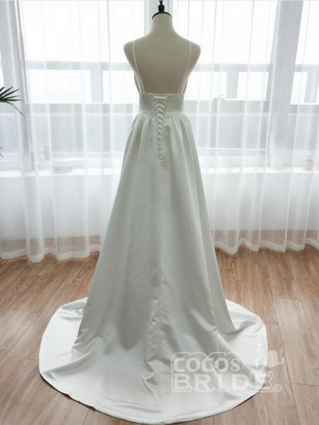 Simple Spaghetti Strap Sleeveless Backless A-Line Wedding Dresses_3