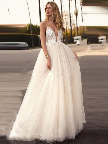 Spaghetti-Strap V-Neck A-Line Wedding Dresses_1