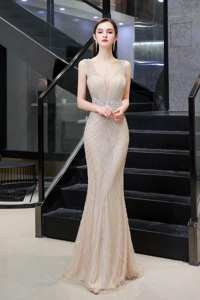 Sexy Mermaid V-neck Silver Long Prom Dress_13