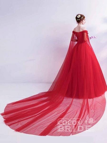 Off-the-Shoulder Lace Applique Wedding Dresses_2
