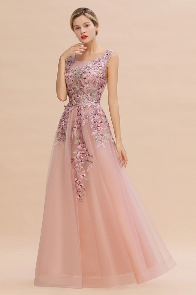 Gorgeous Dusty Pink Tulle Long Lace Appliques Prom Dress_10