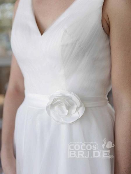 Elegant V-Neck Sleeveless Tea Length Lace Up Short Wedding Dresses_4
