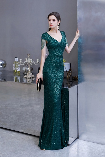 Elegant Cap Sleeve Green Sequins Long Prom Dress_5