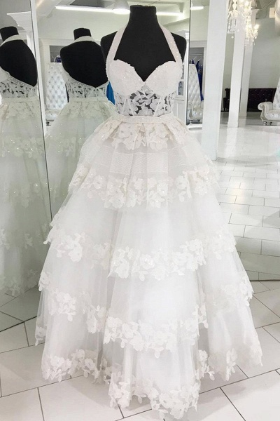Sweetheart White Lace Long Ball Gown Long Lace Wedding Dress_1