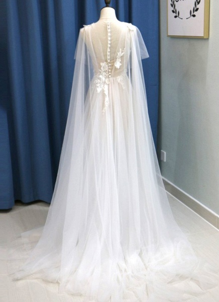 White Tulle V Neck A Line Beach Wedding Dress_2