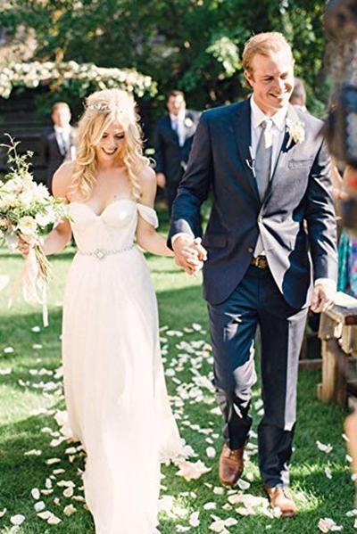 Boho Off the Shoulder Chiffon with Beading Belt Flowy Wedding Dress_1