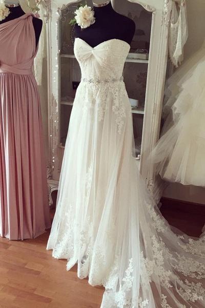 Pure White Chiffon Lace Organza Sweetheart Beading Wedding Dress_1