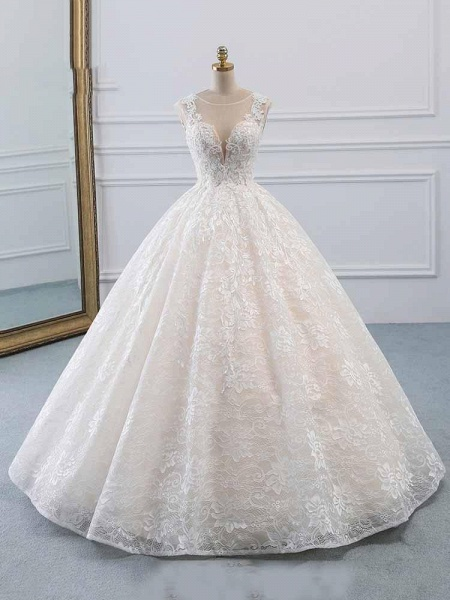 Glamorous Lace Tulle Ball Gown Wedding Dresses_1