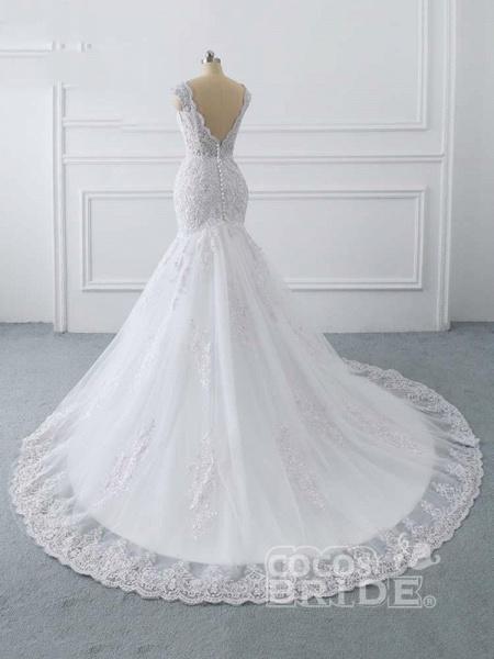 V-Neck Mermaid Lace Wedding Dresses_4