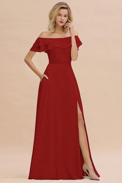 BM0775 Off-the-Shoulder Front Slit Mint Green Long Bridesmaid Dress_48