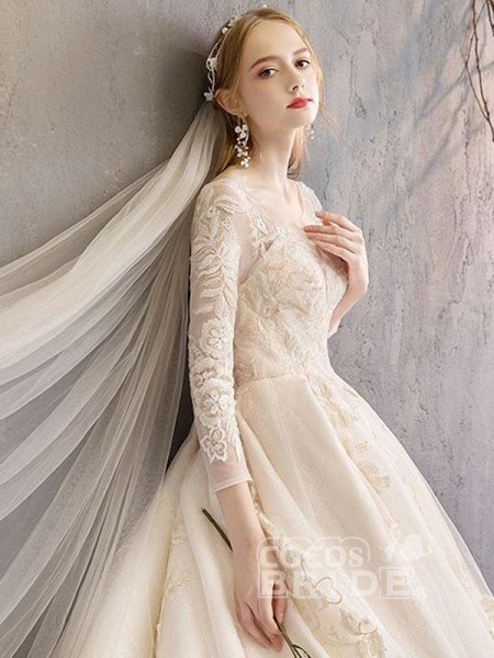 Long Sleeve Lace-Up Applique Ball Gown Wedding Dresses_4