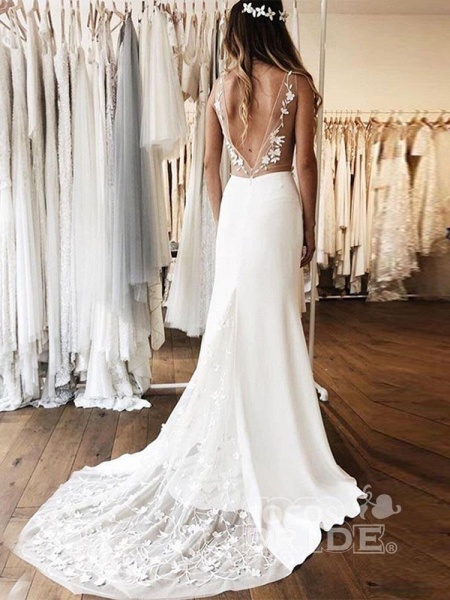 Gorgeous V-neck Lace Backless Mermaid  Wedding Dresses_2