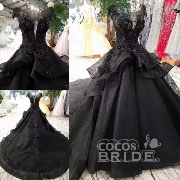 Gorgeous Black Ball Gown Cap Sleeves Long Wedding Dress_4