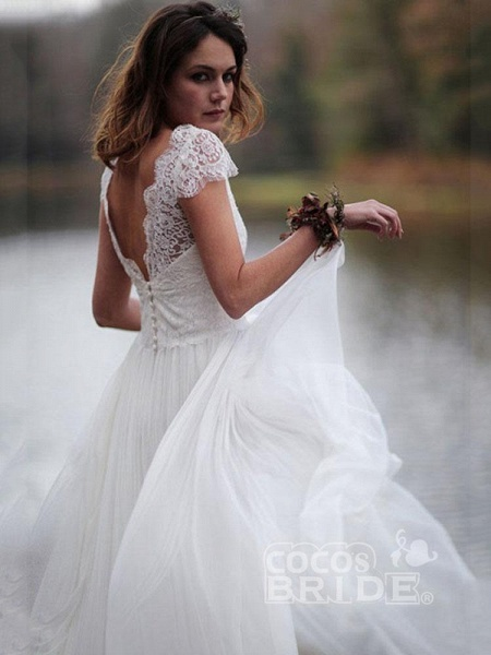 Elegant V-Neck Cap Sleeves Lace Ruffles Wedding Dresses_3