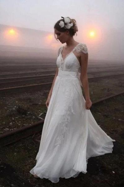 Romantic V Neck Cap Sleeves Chiffon Beach Wedding Dress_1
