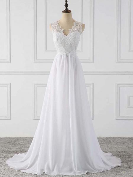 Elegant V-Neck Sleeveless Covered Button Ruffles Wedding Dresses_1