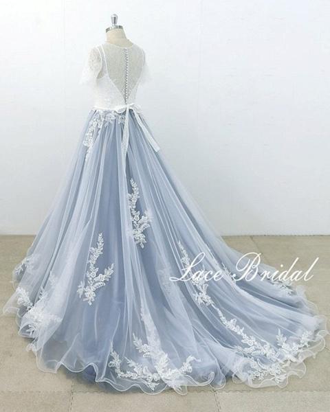 Blue Gray Tulle Ivory Lace Short Sleeve Beach Wedding Dress_3