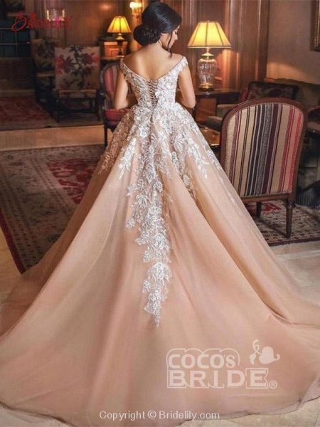 Luxury Appliques Lace-Up Ball Gown Wedding Dresses_2