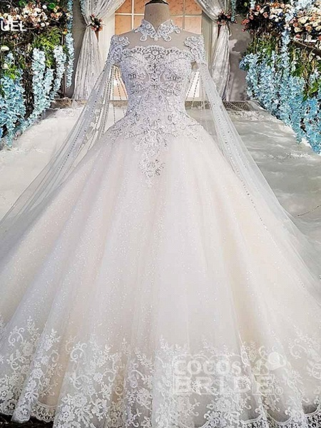 Luxury High Neck Lace Ball Gown Wedding Dresses_3